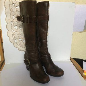 Born Thigh High Heeled Brown Leather Boots